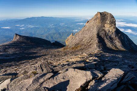 View from Lows peak summit of Kinabalu mountain massif in Borneo island, Sabah, Malaysia, Asia