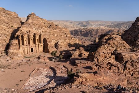 Top view of The Monastery in Petra ancient city, one of seven wonders in the world, Jordan, Middle east, Asia 版權商用圖片