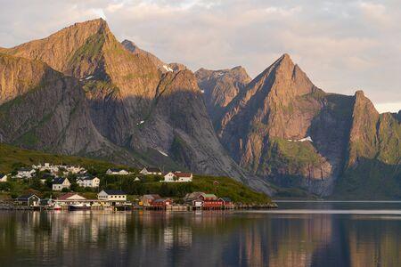 Beautiful landscape of Lofoten archipelago in summer season in a morning, Norway, Scandinavia, Europe 版權商用圖片