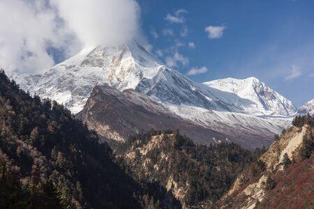 Manaslu mountain peak, eighth highest peak in the world, Himalayas mountain range in Nepal, Asia