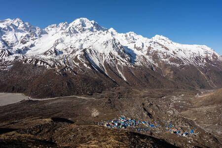 Kyanjin gompa village surrounded by Lantang mountain massif, Himalayas mountain range in Nepal, Asia