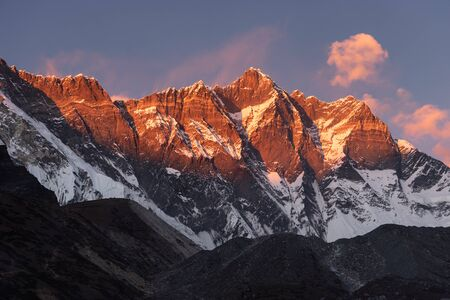 Lhotse mountain peak, fouth highest peak in the world in Himalaya mountain range, Everest region, Nepal, Asia
