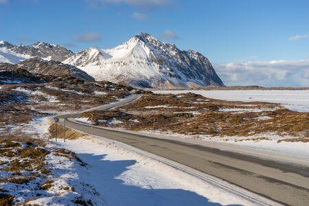 Beautiful scenic road to Eggum in Lofoten archipelago, Norway, Scandinavia, Europe