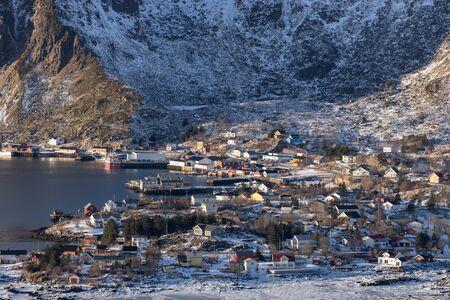 Ballstad fishing village in winter season in Lofoten archipelago, Norway, Scandinavia, Europe