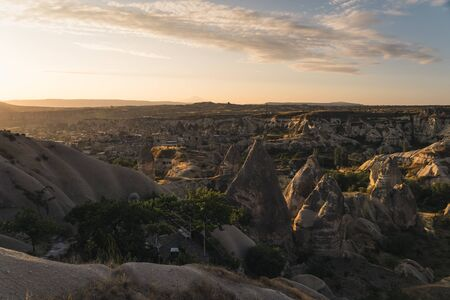Sunrise at Goreme town in Cappodocia, central Anatolia region, Turkey, Asia