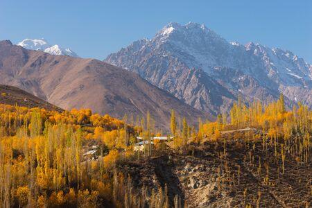 Colorful autumn season in Phander v alley, Gilgit Baltistan in Pakistan, Asia