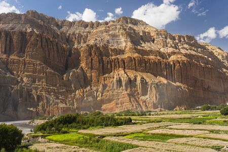 Red cliff and buckwheat paddy in Chuksang village in Upper Mustang region, Himalaya mountain range in Nepal, Asia Stock Photo