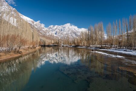 Crystal clear water of Phander river in autumn season, Gilgit Baltistan in Pakistan, Asia