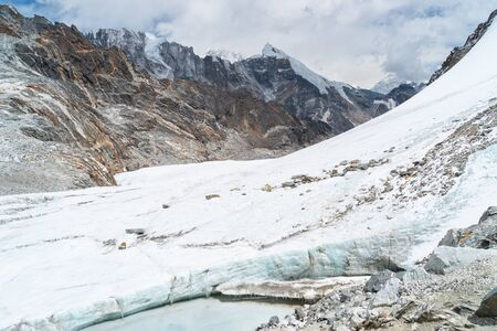 Glacier in Chola pass in Everest base camp trekking route, Himalaya mountains range in Nepal, Asia