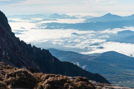 Beautiful scenery from Kinabalu mountain peak in Borneo island, Sabah state in Malaysia, Asia Standard-Bild