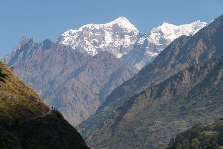 Saula mountain peak view from Manaslu trekking route, Himalaya mountains range in Nepal, Asia