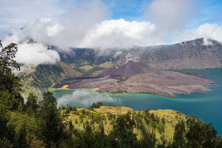 Beautiful landscape of Rinjani active volcano mountain in Lombok island, Indonesia, Asia Stock Photo