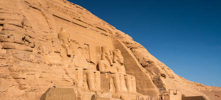 Panoramic view of Abu Simbel temple in Aswan, Upper Egypt, Africa. Banner portion Stock fotó