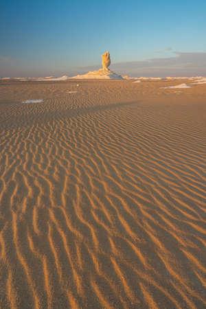 White desert landscape in a beautiful morning sunrise, Egypt, Africa