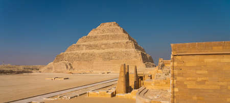 Djoser (Step Pyramid) the first pyramid built in Egypt, Saqqara, Lower Egypt, Africa. Panoramic banner portion