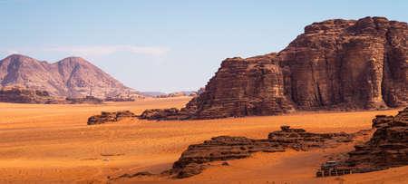 Mountains and red desert in Wadi Rum, famous desert in Jordan, Arab, Asia. Panoramic banner portion Stock fotó