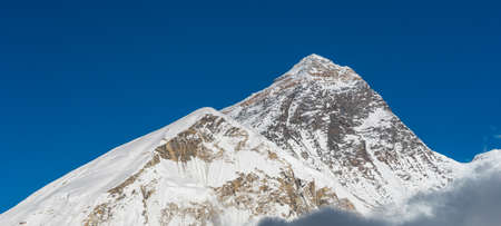 Everest mountain peak, highest peak in the world at 8,848 m. above sea level, Himalayas mountain range, Nepal, Asia. Panoramic banner portion