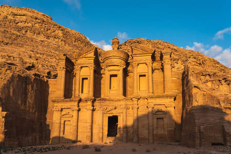 The Monastery or Ad Deir in Petra ruin and ancient city of Nabatean kingdom Stock fotó