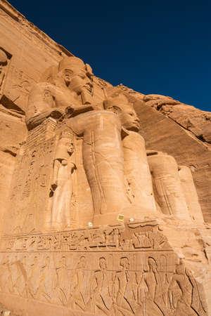 Ramses II statue at Abu Simbel temple in Aswan in Upper Egypt near Sudan, Africa Stock fotó