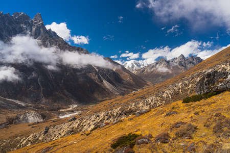 Himalaya mountain landscape view from Lumde village in Everest base camp trekking route, Nepal, Asia