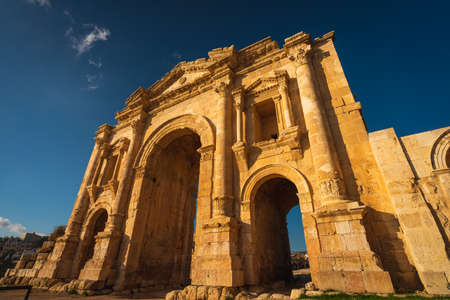 Gate of Hadrian in ruin and ancient city of Roman empire  in Jordanian city of Jerash, Jordan, Arab, Asia