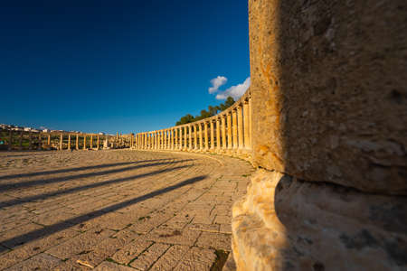 Stone columns in Jerash ruin and ancient city of Roman empire in Jordan, Arab, Asia
