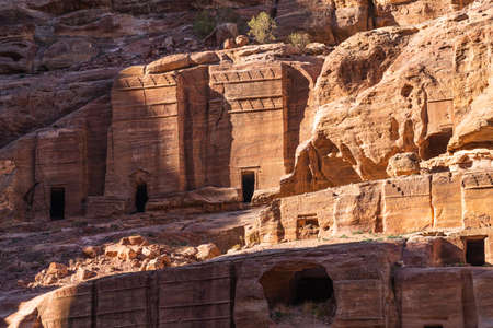 Ancient tomb around street of Facades in Petra ruin and ancient city of Nabatean kingdom, Jordan, Arab, Asia 写真素材