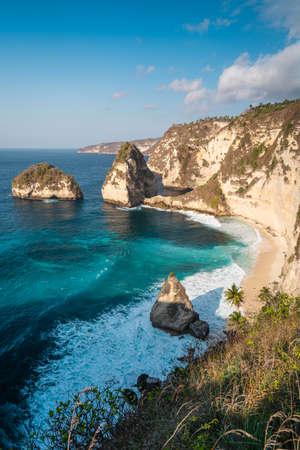 Beautiful top view of  Diamond beach in a morning. Nusa Penida near Bali island in summer season, Indonesia, Asia