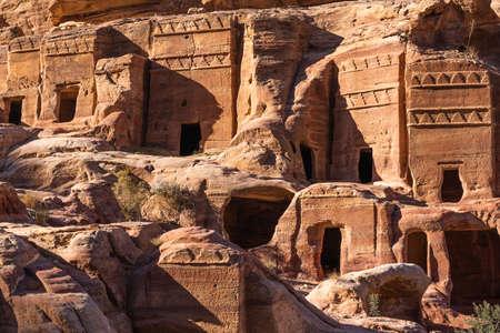 Ancient tomb in Petra ruin and ancient city of Nabatean kingdom, Jordan, Arab, Asia 版權商用圖片