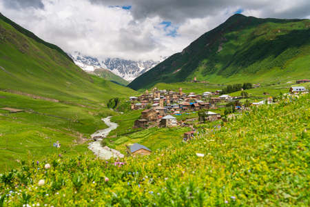 Ushguli village, highest settlement in Europe in summer season surrounded by Caucasus mountains range, Svaneti region, Georgia country, Europe