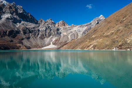 Gokyo lake in Everest base camp trekking route, Himalaya mountains range in Nepal, Asia