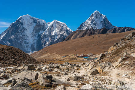 Lobuche village, small village in Everest base camp trekking route surrounded by Himalaya mountains range, Nepal, Asia