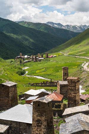 Ushguli village, highest sattlement in Europe in summer season, Svaneti region in Georgia country, Europe 版權商用圖片