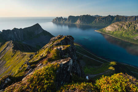 Beautiful landscape at evening sunset  on top of Husfjellet mountain peak in Senja island in summer season, Norway, Scandinavia, Europe 版權商用圖片