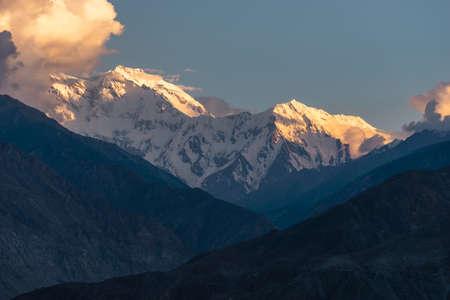 Evening sunset light over Nanga Parbat mountain massif. Himalaya mountains range in Pakistan, Asia