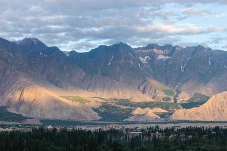 Beautiful landscape of Karakoram mountains range in Skardu village in summer season in a morning, Gilgit Baltistan, Pakistan, Asia