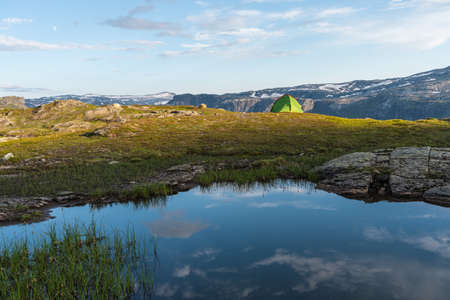Beautiful mountains landscape in Trolltunga mountain cliff hiking route in summer season, Odda, Norway, Scandinavia, Europe 版權商用圖片