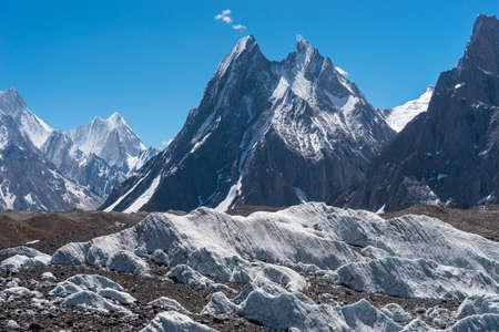 Mitre mountain peak view from K2 base camp trekking route surrounded by Karakoram mountains range, Gilgit Baltistan, Pakistan, Asia