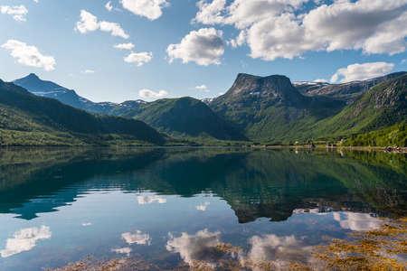 Beautiful reflection of mountains and fjord in Lofoten island in summer season, Northern Norway, Scandinavia, Europe 版權商用圖片