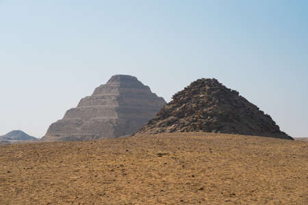 Djoser pyramid (Step Pyramid) is archaeological remain in the Saqqara necropolis, Egypt, Africa