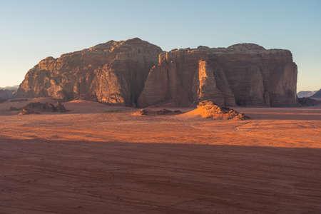Beautiful mountains  and desert in Wadi Rum desert in a morning sunrise, Jordan, Arab, Asia