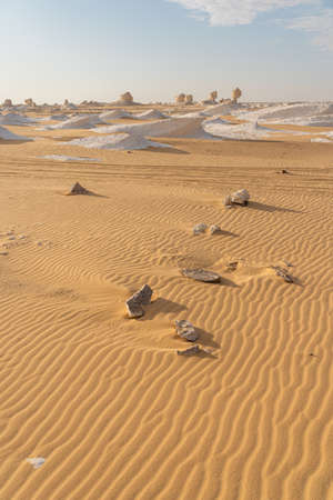 Beautiful landscape with sand pattern of White desert in Egypt in a morning, Egypt, Africa