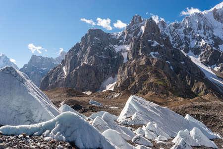 Beautiful mountains and glacier in Karakoram mountains range in K2 trekking route in north Pakistan, Asia