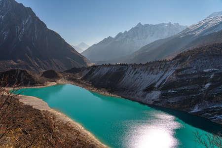Beautiful landscape of Birendra lake view from the way to Manaslu base camp, Himalaya mountains range in Nepal, Asia 版權商用圖片