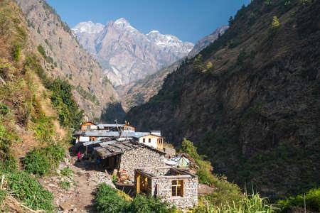 Deng village, small village in Manaslu circuit trekking route  surrounded by Himalaya mountains range in Nepal, Asia