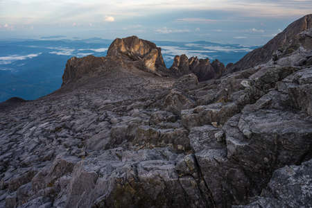 Landscape of Kinabalu mountain massif view from Low's peak in a morning sunrise, Borneo island in Sabah state, Malaysia, Asia
