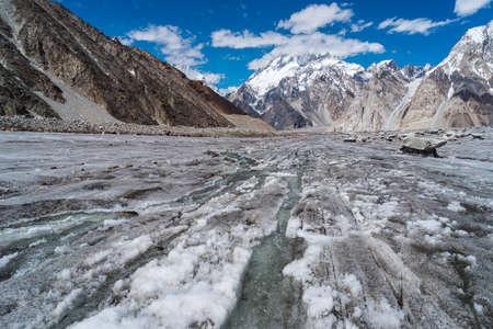 Broadpeak mountain view from Vigne glacier, K2 base camp trekking route surrounded by Karakoram mountains range, Pakistan, Asia