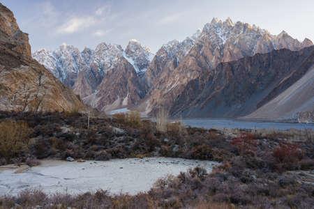 Passu cathedral mountain massif in a beautiful morning sunrise. Karakoram mountains range in north Pakistan, Asia