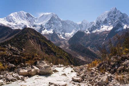 Himalaya mountains range landscape view from Bimthang village in Manaslu circuit trekking route in Nepal, Asia