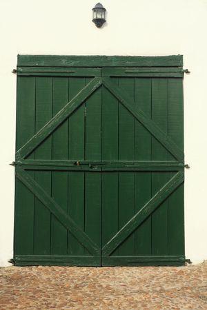 Green garage doors photo